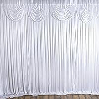 Efavormart 20ft x 10ft Classic Double Drape Party Wedding Backdrop,Photography Background - White