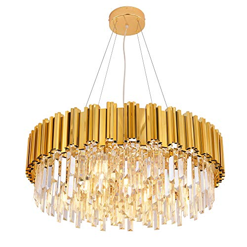 MEELIGHTING Raindrop Gold Plated Modern Crystal Chandelier Lights Luxury Pendant Ceiling Light Contemporary Chandeliers Lighting Fixture for Dining Living Room Kitchen Island Bedroom - Kitchen Contemporary Lighting