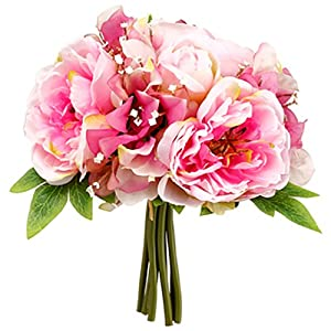 "10"" Peony & Sweet Pea Silk Flower Bouquet -2 Tone Pink (Pack of 12) 62"