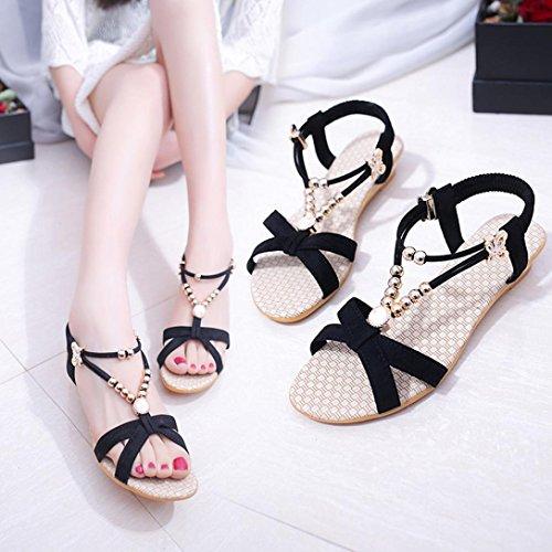 Goodsatar De las mujeres Verano Sandalias Zapatos Peep-toe Low Zapatos Sandalias romanas Señoras Chancletas oscuro