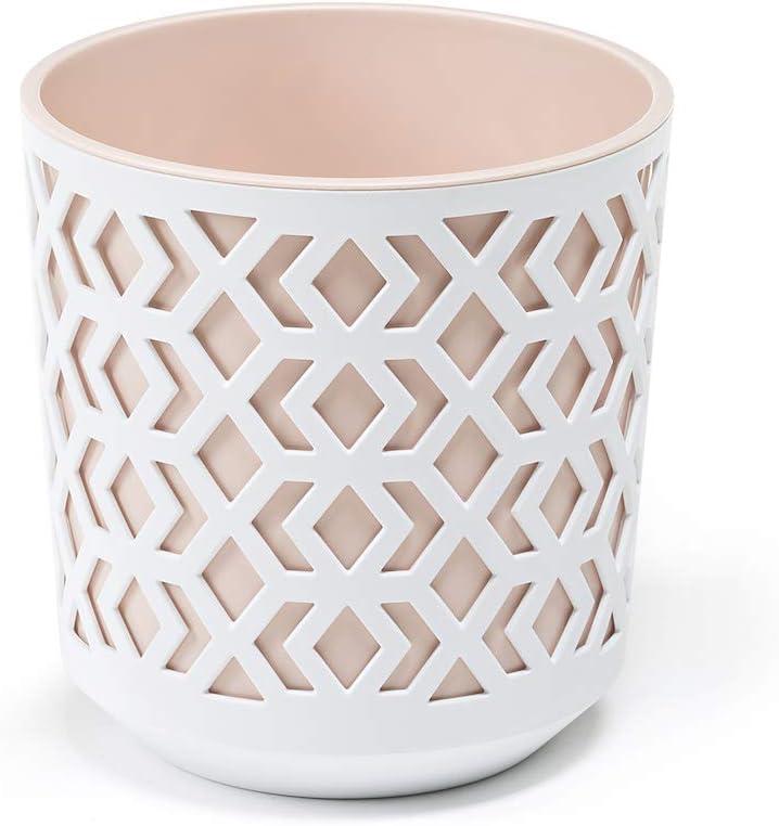 AZTEK Pot de Fleurs /Ø 19,5 multi couleur pots de fleurs color/és pour lint/érieur et lext/érieur H:20 cm /Ø 195 mm, Blanc + Beige Boyaux de fleurs