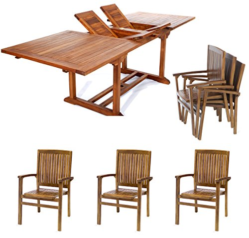 All Things Cedar TE90-24 Teak Rectangular Extension Patio Table with Stacking Arm Chairs Set, 7-Piece -