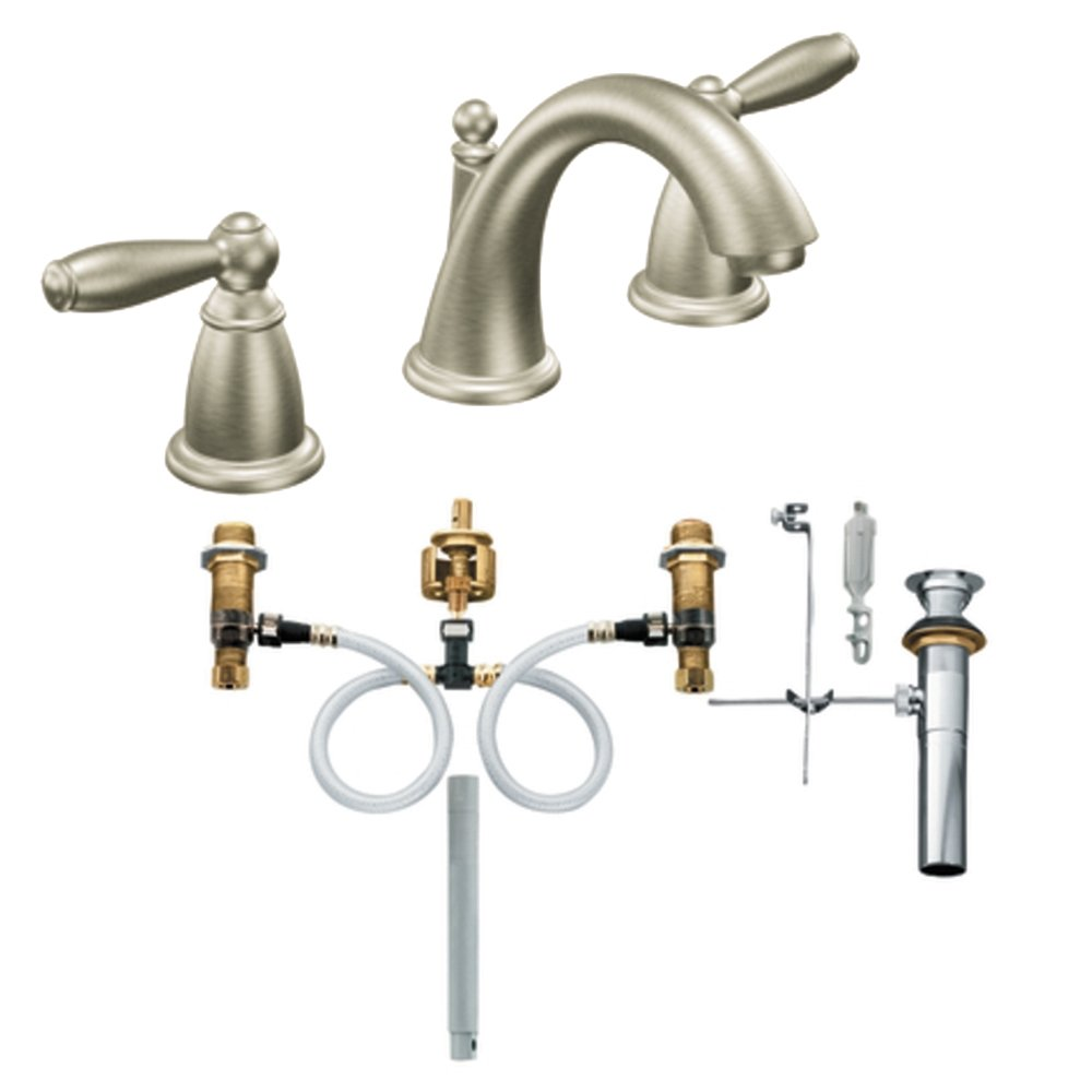 Moen T6620BN-9000 Brantford Two-Handle High Arc Bathroom Faucet with Valve, Brushed Nickel