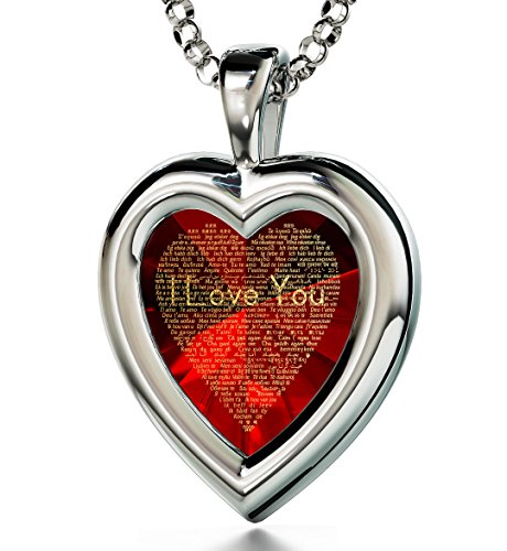 925 Sterling Silver Heart Pendant I Love You Necklace 120 Languages Inscribed Red Cubic Zirconia, 18