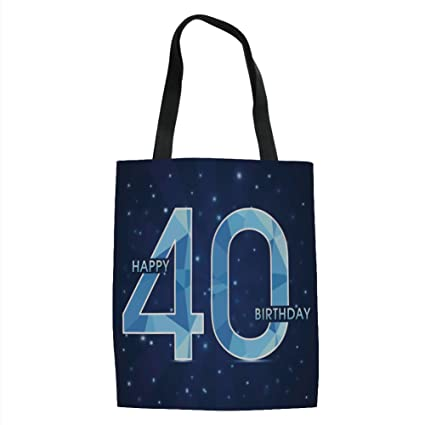 IPrint 40th Birthday DecorationsAbstract Modern Design Geometrical Number Forty EmblemDark Blue Light