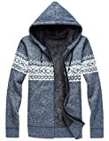 Product review for LETSQK Men's Slim Fit Full Zip Up Sherpa Lined Christmas Hooded Cardigan Sweaters