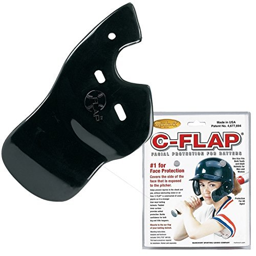 Authentic Baseball Shop Baseball C-Flap Batter's Helmet Face Protection Guard Attachment (5 Colors for Left & Right Handed Hitters) (Black, Right Handed Hitter) (Batters Guard)