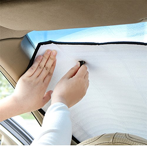 Demarkt Car Front Windscreen Windshield Sun Shade Aluminum Foil UV Parasol Heat Reflector for Universal Cars Silver 140 * 70 CM