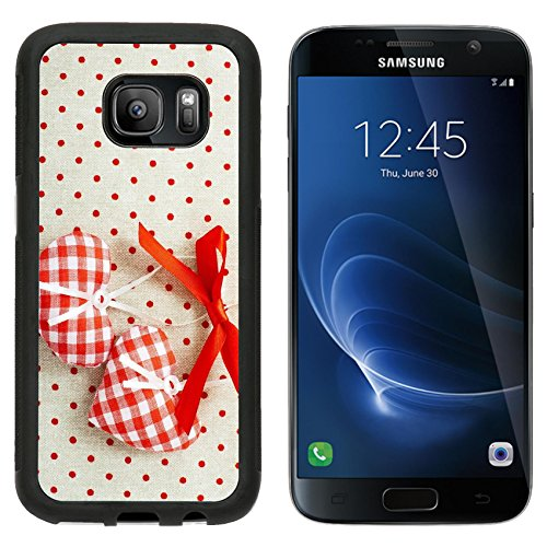 MSD Premium Samsung Galaxy S7 Aluminum Backplate Bumper Snap Case IMAGE ID: 35253219 Heart made of cloth in red cell handmade Valentines Day on the ba…