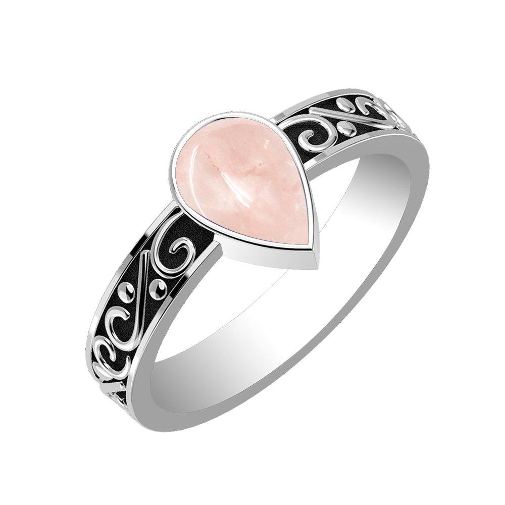 1.15ctw, Genuine Rose Quartz Pear & .925 Silver Overlay Fashion Ring Size-12