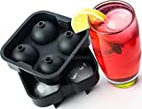 First Like Ice Ball Maker ✮ Novelty Food-Grade Silicone Mold Tray ✮ 4 x 4.5cm Balls ✮ Premium Quality