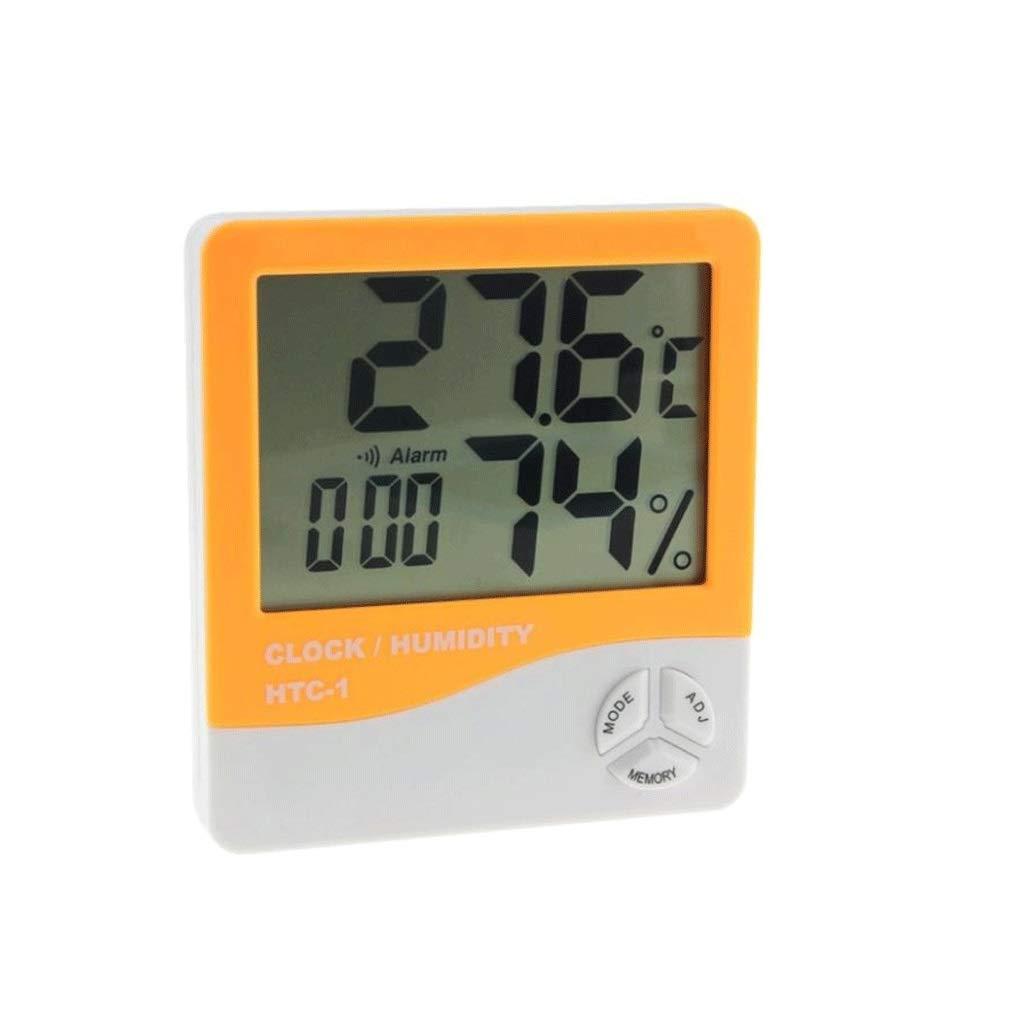 HTC-1 Indoor LCD Electronic Digital Temperature Humidity Meter Digital Thermometer Hygrometer Alarm Clock Weather Station (Color : Orange)