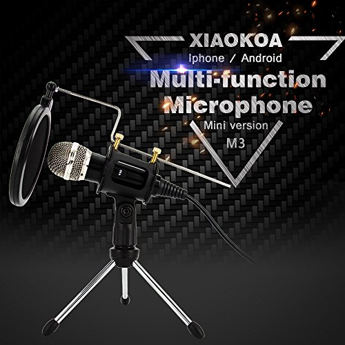 Professional Condenser Microphone, Plug &Play Home Studio for Recording,Podcasting,Online Chatting Such as Facebook,MSN,Skype,with Audio Cable,Desktop MIC Stand dual-layer acoustic filter ( Black )