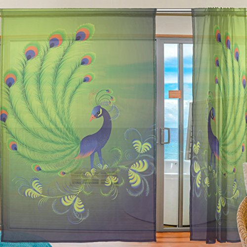 INGBAGS Bedroom Decor Living Room Decorations Peacock Feathers Pattern Print Tulle Polyester Door Window Gauze / Sheer Curtain Drape Two Panels Set 55x78 inch ,Set of 2