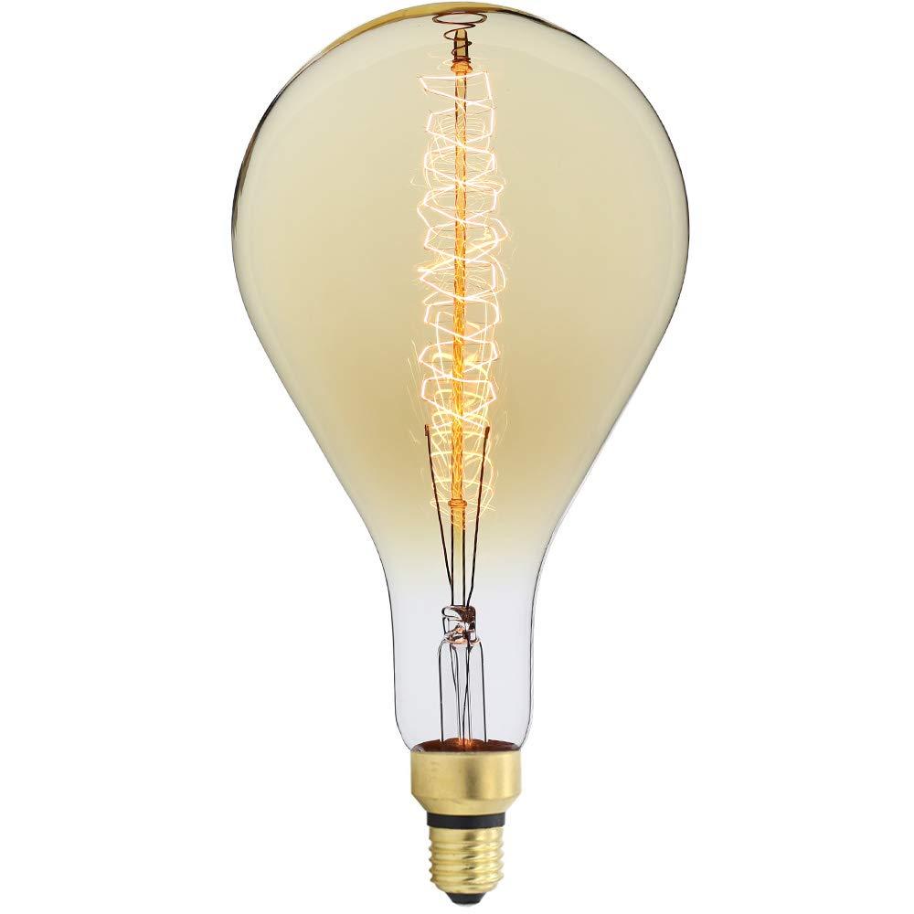 TIANFAN Giant Edison Bulb PS52/A160 Vintage Incandescent 60W Spiral Filament 110/130V E26 Big Size Light Bulb (A160)
