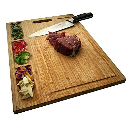HHXRISE Large Organic Bamboo Cutting Board For Kitchen, With 3 Built-In Compartments And Juice Grooves, Heavy Duty Chopping Board For Meats Bread Fruits, Butcher Block, Carving Board, BPA Free