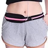 SQMCase Sports Running Belt, Waist Fanny Sweatproof Water Resistant Slim Bounce Free Pack Pouch With 2 Expandable Pockets for Phone, Cards, Money, Sports,Travel, Jogging, Spy, Cycling, Hiking (Rose Red)