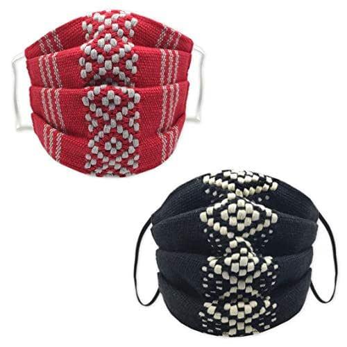 *ROJO gris & NEGRO hueso*, Dos Cubrebocas de Telar Cintura, en tela suave de algodón. Artesanales, Lavables y Rehutilizables. Oaxaca. Hecho en México.