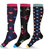 3 Pairs Moderate Compression Socks Women 15-20mmHg Ladies' Knee High Compression Stockings Fashion Support Socks for Running, Nurses, Maternity, Pregnancy