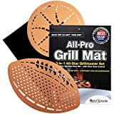 "Red Spade Grill Mat Non Stick - BBQ Grilling Mats for Electric, Charcoal or Gas Barbecue Grills - Reusable Set of 3, Football, Basketball, Rectangle (13""x15"")"