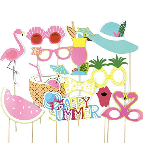Paper jazz Summer Party Photo Booth Props Kit Flamingo Pineapple for Luau Tiki Party Hawaiian party (Photo Booth Card Frame)