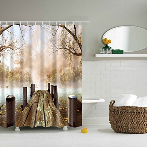 "Old Wooden Bring Pattern Home Decor Bath Shower Curtain 59""(w) x 72""(h) Inches"