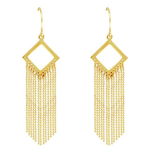 14kt Yellow Gold Dia Shape Beaded Chain Fishhook Earrings ()