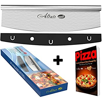 Altair Pizza Cutter & Bonus Ebook Stainless Steel Best 14 inch Pizza Cutter Rocker Slicer Knife with Heavy Duty Sharp Blade and a Protection Cover Dishwasher Safe !!!