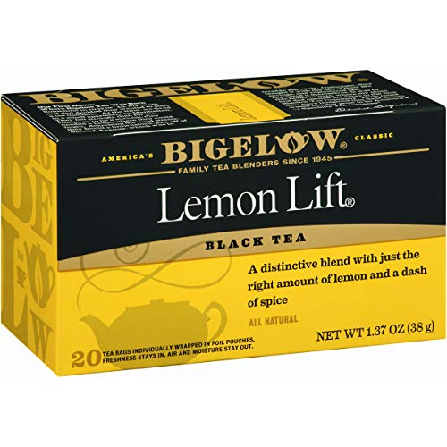 (Bigelow Lemon Lift Black Tea Bags 20-Count Boxes (Pack of 6), 120 Tea Bags Total.  Caffeinated Individual Black Tea Bags, for Hot Tea or Iced Tea, Drink Plain or Sweetened with Honey or Sugar)