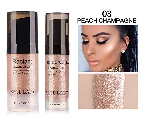 - Hot Illuminator Makeup Highlighter Cream Face Brighten Professional Shimmer Make Up Liquid Glow Kit Beauty Brand Cosmetic SACE LADY 12ml (03#Peach Champagne)