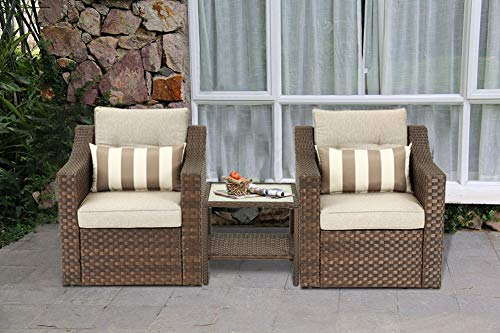 SOLAURA Patio Outdoor 3 Pieces Furniture Set Brown Wicker Sofa Light Brown Cushions with Glass Top Coffee Side Table