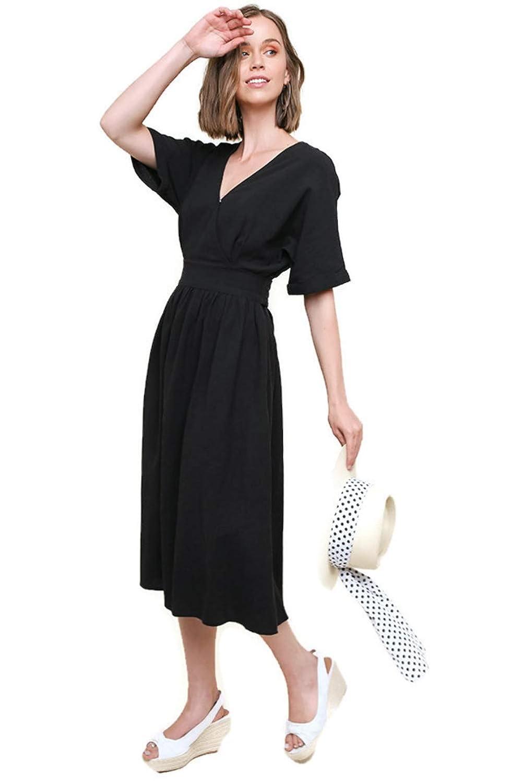 Black Umgee Short Rolled Sleeve Crossbody Midi Dress with Waist Tie