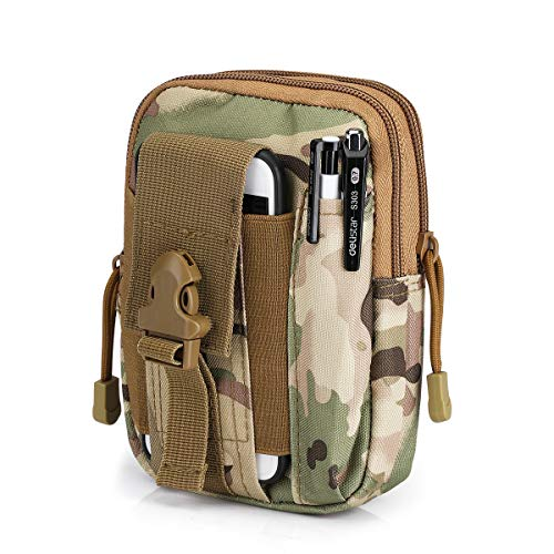 G4Free Tactical Molle Pouch Compact EDC Utility Gadget Waist Bag Pack with Cell Phone Holster(CP Camouflage)