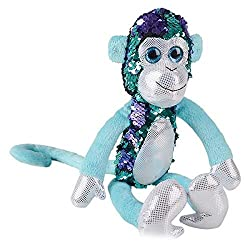 Stuffed Monkey With Reversible Sequins In Turquoise & Purple