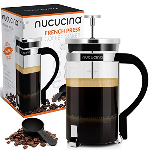 Nucucina French Press 34oz Premium Coffee and Tea Maker - New 1Liter Carafe With Measuring Level - Best Coffee Press For Home Or Office - Unique Double Mesh Filtration - Bonus Spoon And 2 More Filters