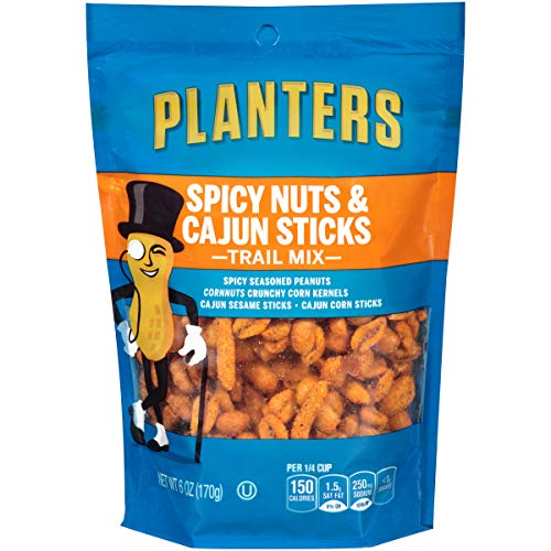 Planters Spicy Nuts & Cajun Sticks Trail Mix (6oz Bags, Pack of 12)