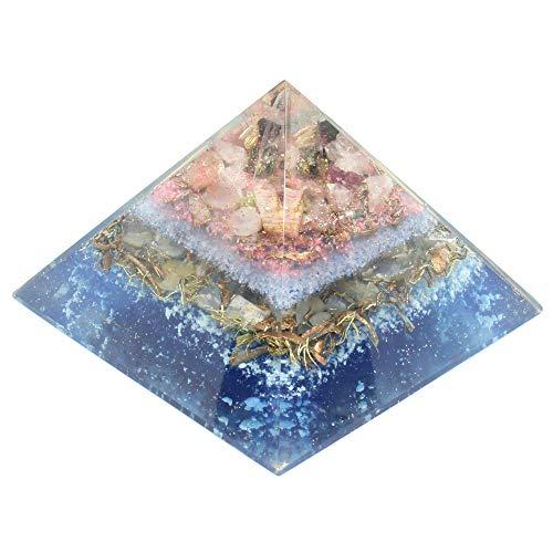 (Orgonite Multi Tourmaline Orgone Energy Generator Pyramid with Rose Quartz for EMF Protection Healing Heart Emotion Balance Yoga Aid)