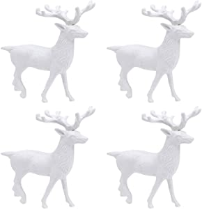 Hosfairy 4Pcs Mini Christmas White Reindeer Figurine Plastic Deer Ornament Miniature Toy for Xmas Cake Topper Party Supplies
