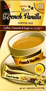 Mazel Café French Vanilla Coffee Mix Singles (10 Packets each) FOUR BOXES