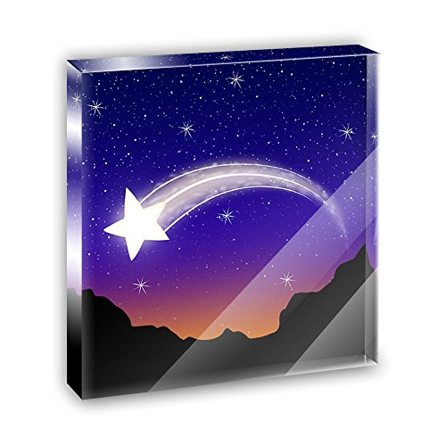 Star Acrylic Plaque - Wishing on a Shooting Star Acrylic Office Mini Desk Plaque Ornament Paperweight