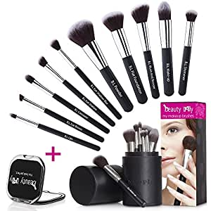 beauty Lally Professional Make Up Brush Set, Synthetic Hair, Giving You Full Coverage For Everyday Use, Soft, No Shed At All, Case and Mirror, Pack of 10