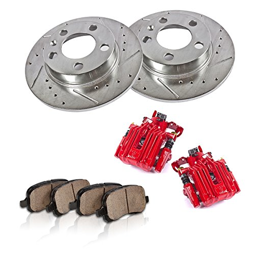 CCK11833 REAR Powder Coated Red [2] Calipers + [2] 5 Lug Rotors + Quiet Low Dust [4] Ceramic Pads Performance Kit (Best Tires For Vw Jetta Tdi)