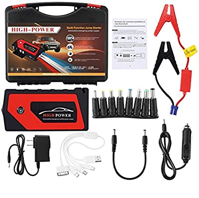 Car Jump Starter Build with Air Compressor 10 in 1 set,600A Peak 9000 mAh Jump Pack,With 4 USB Ports, 4 Emergency Lights for Diesel and Petrol Vehicles(one more safety hammer)