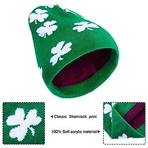 6b66624b949 Chuangdi 6 Pieces St Patrick s Day Hats Unisex Shamrock Beanie Knit ...