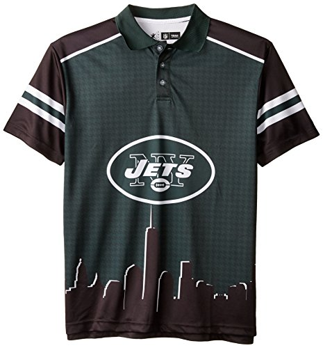 New York Jets Polyester Short Sleeve Thematic Polo Shirt Extra Large