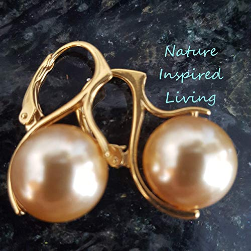 (Golden South Sea Pearl Earrings on 24 K gold Vermeil on Sterling Silver Leverbacks made with 12 mm Swarovski Gold Simulated Pearls Made in the USA)