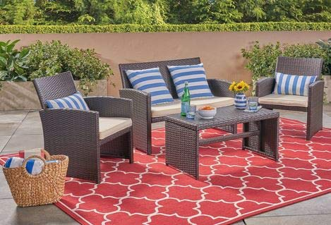 Luca Outdoor- Sunroom Furniture- Out Door Patio Furniture- Brown Wicker Four Piece Cushioned Water Resistant - Great for Summer Barbecues, Garden Parties, and Afternoons Spent Lounging