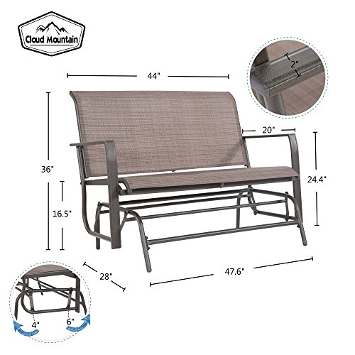 Cloud Mountain Patio Glider Bench Outdoor 2 Person Swing Loveseat Rocking Seating Patio Swing Rocker Lounge Glider Chair, Tan by Cloud Mountain (Image #3)