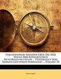 Vollständiges Register Über Die Xxii Theile der Köhlerischen Münzbelustigungen Verfertiget Von Johann Gottfried Bernhold, Anonymous, 1148076158