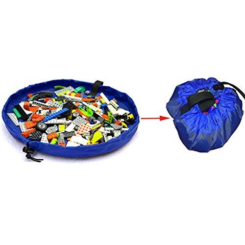 Blue 150cm Portable Kids Toys Storage Bag Play Mat Toy Organizer Rug Box